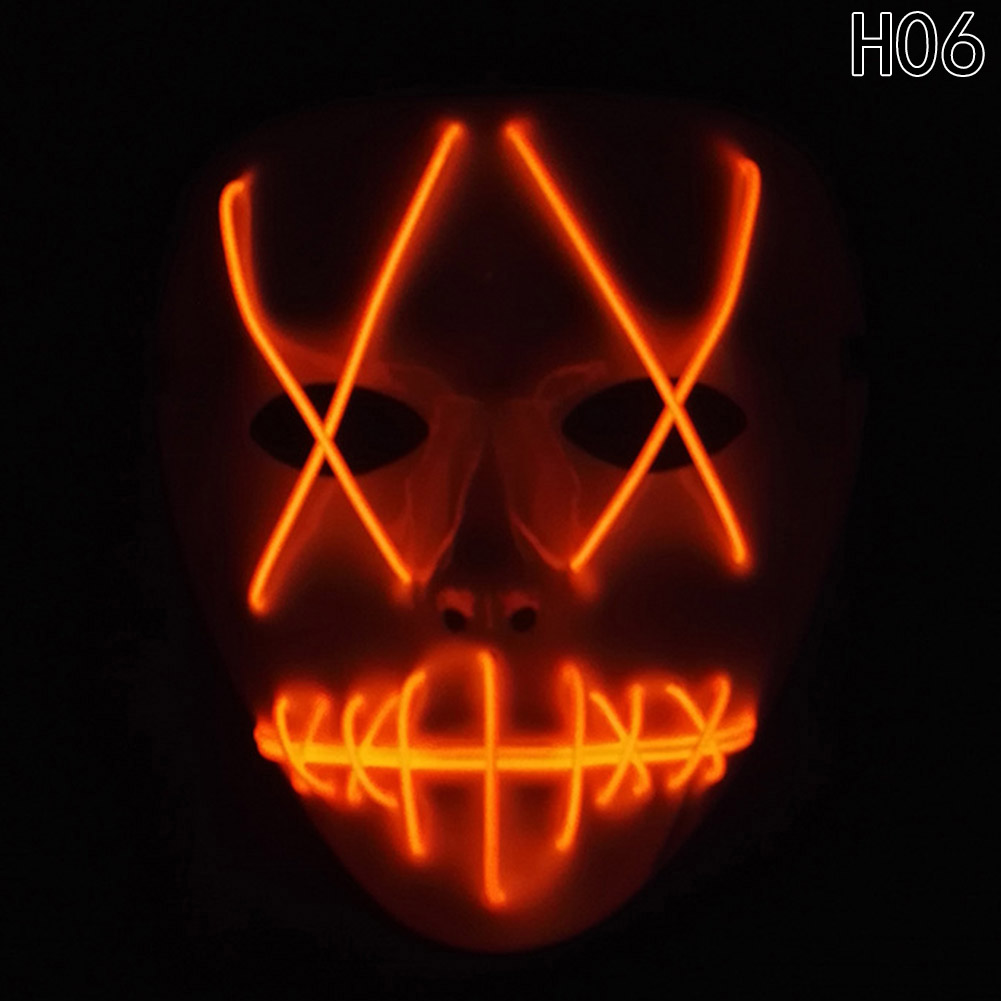 HTB1I c0bo3IL1JjSZFMq6yjrFXaD - 1 Piece Halloween ghost Slit mouth light up glowing LED Mask Costume PTC 259
