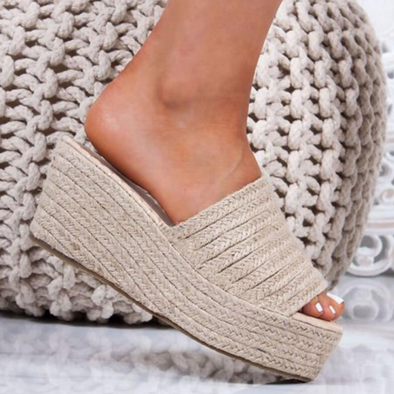 NEW WOMENS LADIES PLATFORM WEDGE ESPADRILLES FLIP FLOPS SANDALS SIZE SUMMER SHOE