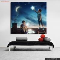 Stars Crescent Boys Little Girls Night Two Roof Portrait Modern Oil Painting Drawing Art Spray Unframed
