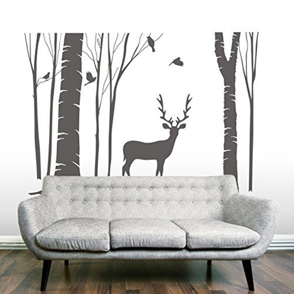 popular birch tree vinyl buy cheap birch tree vinyl lots from 2017 hot sale birch tree vinyl wall decal reindeer wall art murals stickers home decor for