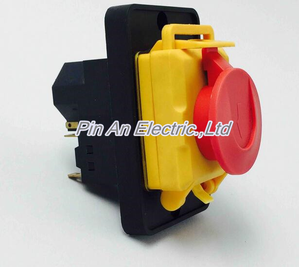 Electromagnetic switch 7 Pin On Off Push Button Protective cover Emergency stop Ignition switch 16A 230V YCZ4-A