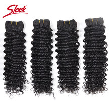 Sleek Hair Deep Wave Brazilian Hair Weave 4 Bundles Natural Black Color Hair Extension Virgin Human Hair Bundles Double Weft(China)