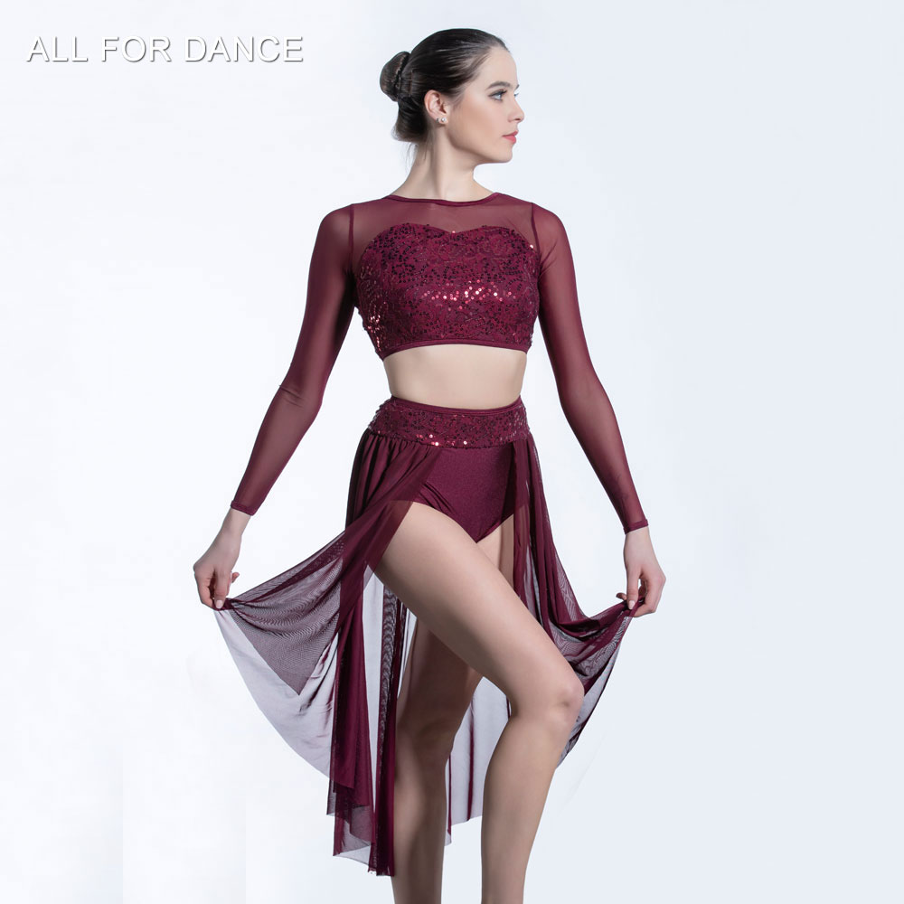 Burgundy sequin lace mesh sleeve top, with mesh skirts, dancewear ballet costumes lyrical & contemporay balletwear image