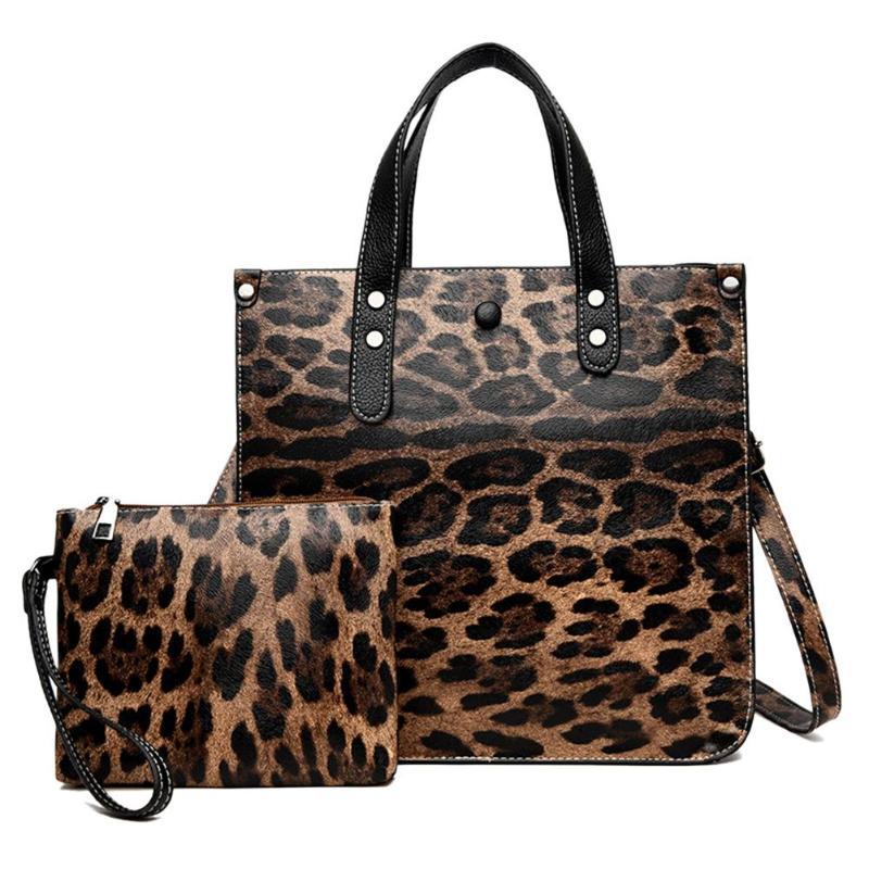 2pcs Leopard Pattern Leather Handbags Women Composite Tote Bag Shoulder Messenger Square Handbag Retro Animal Prints Bag