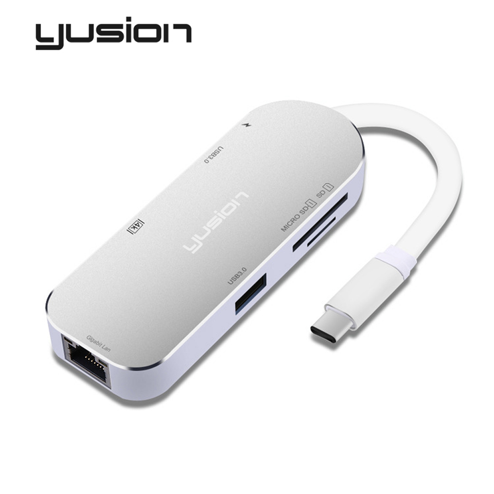 Yusion USB-C 3.1 Type-C to HDMI HD 4K RJ45 Ethernet port PD Charging Adapter with USB3.0 SD/TF Card Solt Converters For Macbook ...