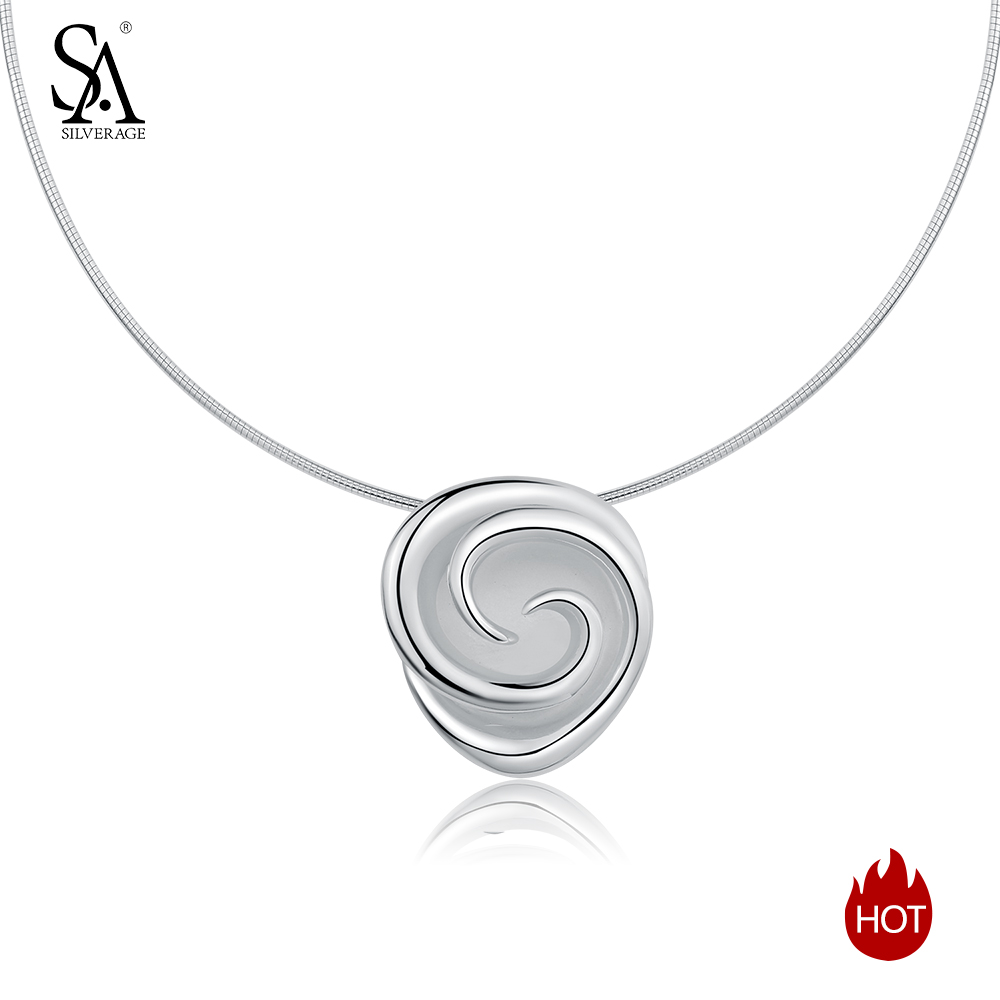 SA SILVERAGE 925 Sterling Silver Rose Chokers Necklaces for Women Flower 925 Silver Pendant Statement Necklaces Fine Jewelry sa silverage real 925 sterling silver crystal key necklaces pendants for women silver chain pendant necklaces wedding gifts