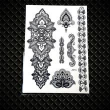 25 Style Indian Black Henna Temporary Tattoo Stickers Women Waterproof Fake Flash Body Art Ear Tatoo Mandala Rose Flower