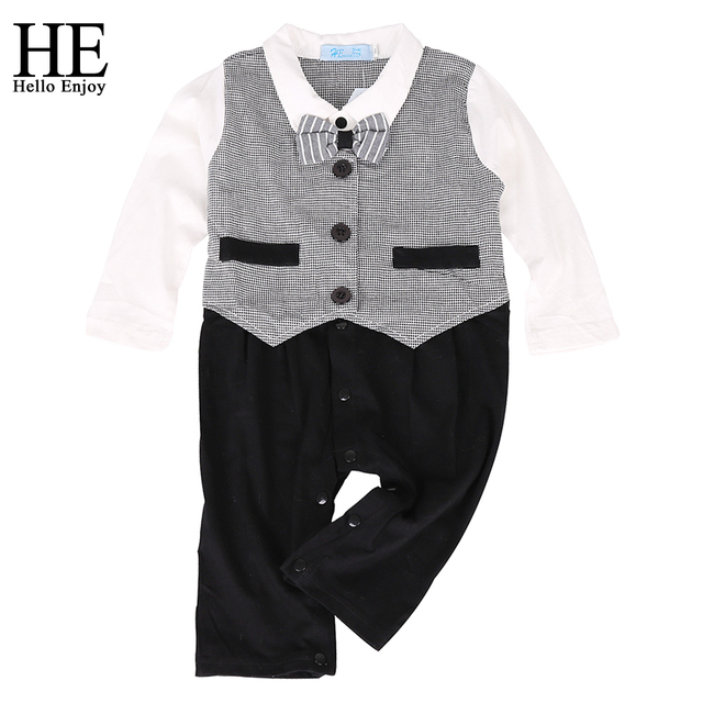 26e2c877238b HE Hell enjoy the baby boy winter clothes suit fashion newborn boy clothing  suit long-sleeved gentleman plaid bow tie tight set