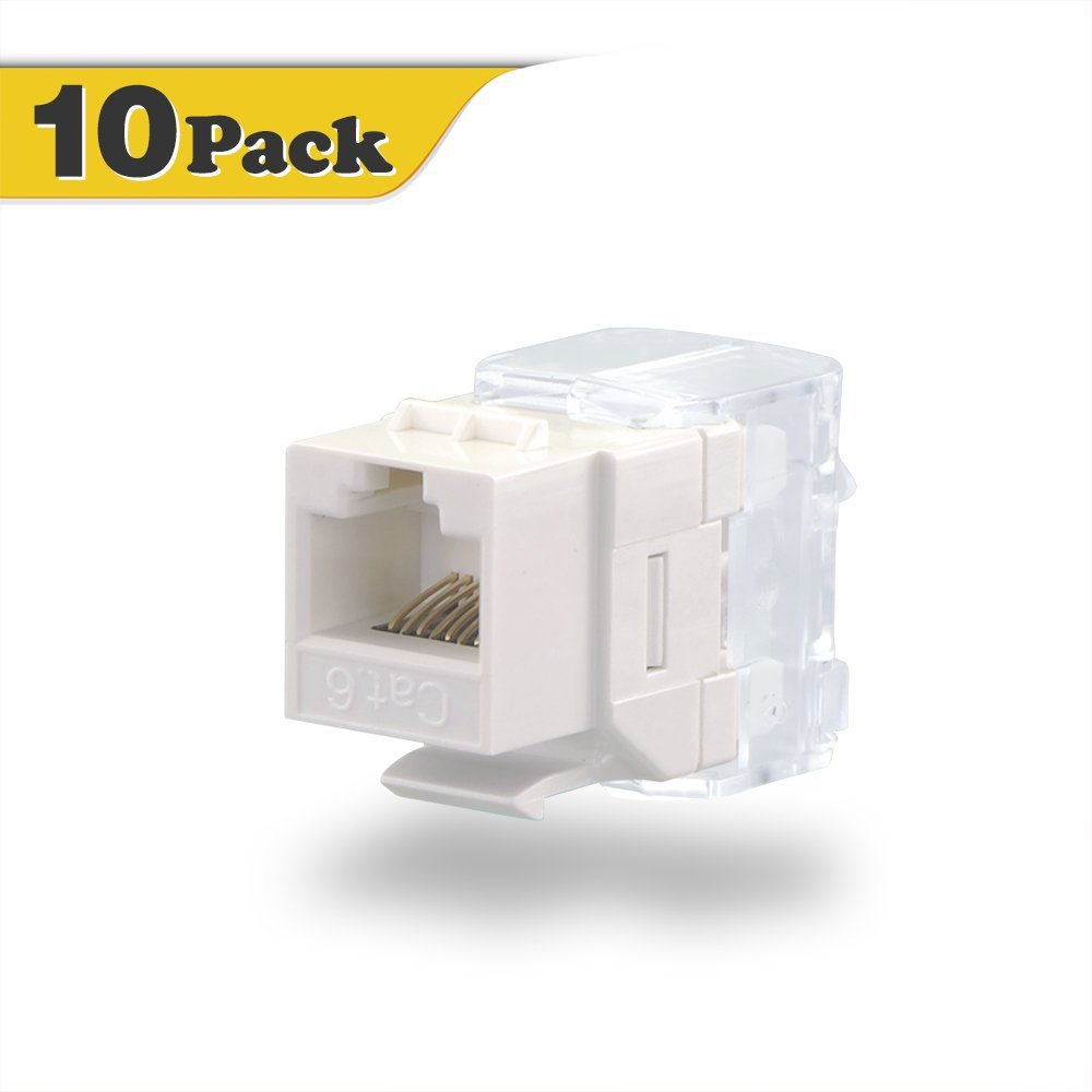 5 Pack Lot CAT6 Network RJ45 110 Punch Down Keystone Snap-In Jack White