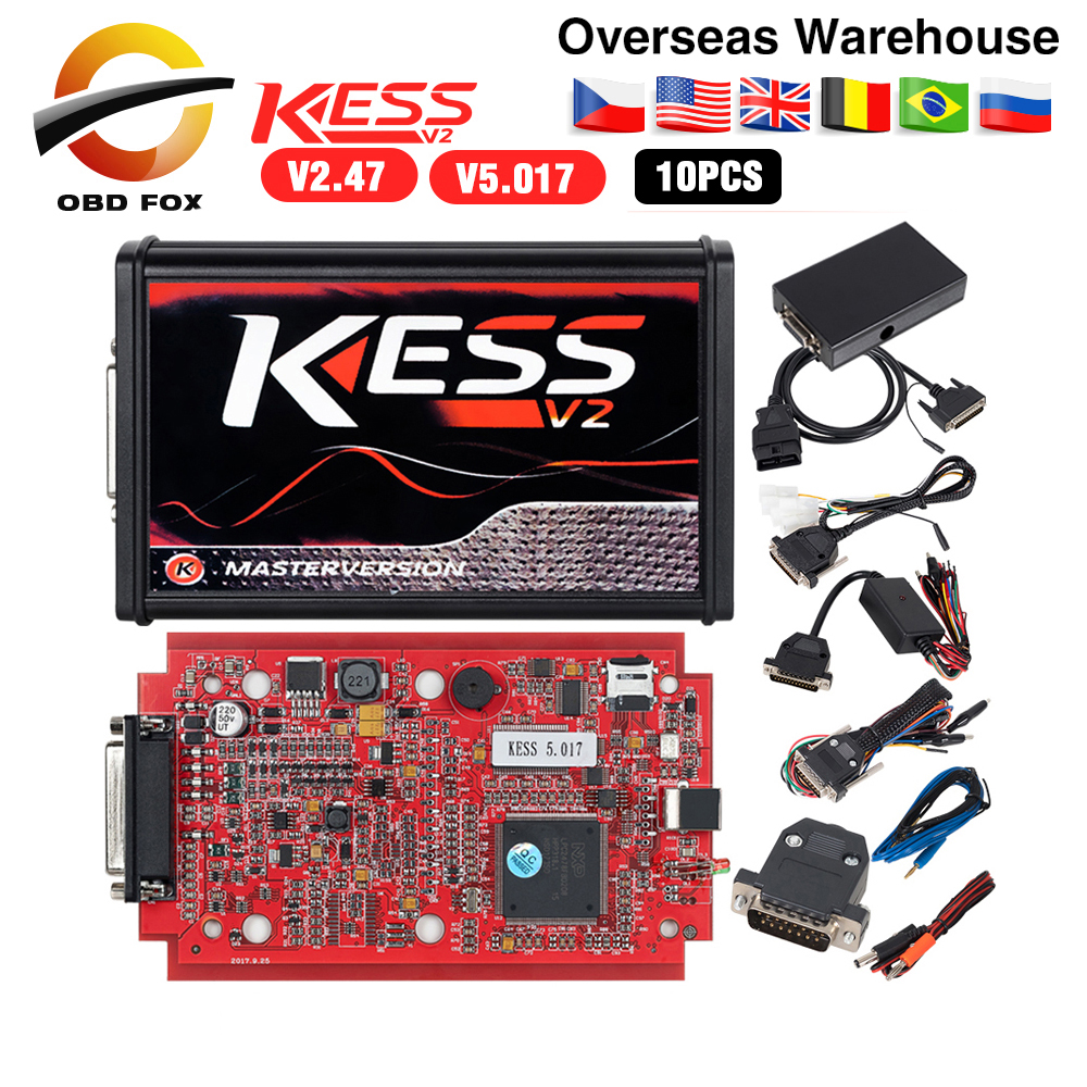 Online V2.47 EU Red Kess V5.017 OBD2 Manager Tuning Kit KTAG V7.020 4 LED Kess V2 BDM Frame K-TAG V2.25 ECU Programmer 10pcs/lot(China)