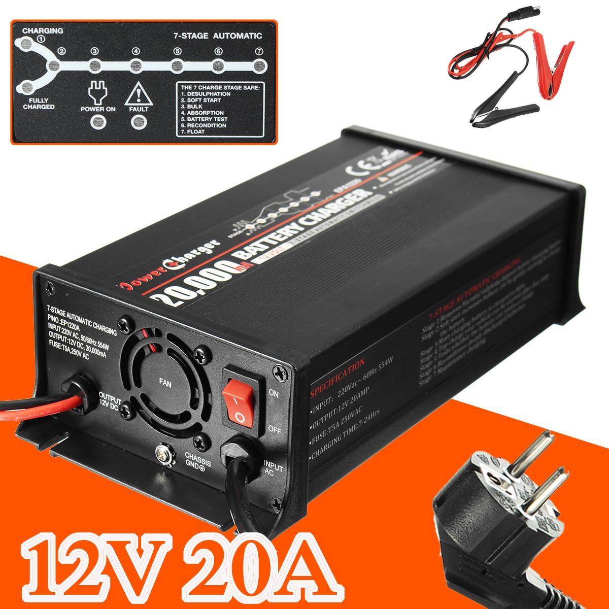 12 v 20A Batterie Chargeur Pour Le Plomb-acide Batterie Entièrement Automatique 7 Chargeur Stade