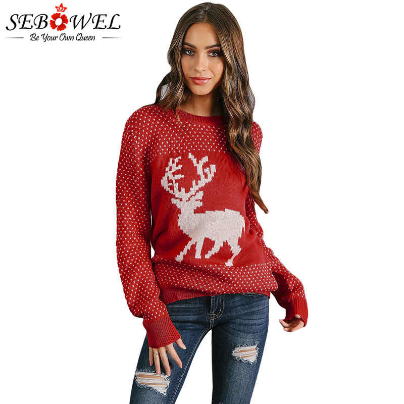 Sebowel Woman Reindeer Christmas Tree Ugly Sweater Knitted Pullovers Top Autumn Winter 2020 Deer Pattern Xmas Sweater For Female Aliexpress