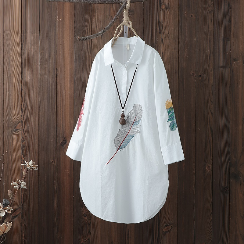 Chemise longue femme brodé blouse tunique kimono cardigan style oriental chinois chemise été hauts pour femmes 2019 AA4604