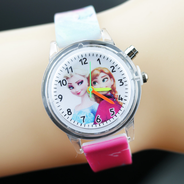 Princess Elsa Children Watches Spiderman Colorful Light Source Boys Watch Girls Kids Party Gift Clock Wrist Relogio Feminino 5