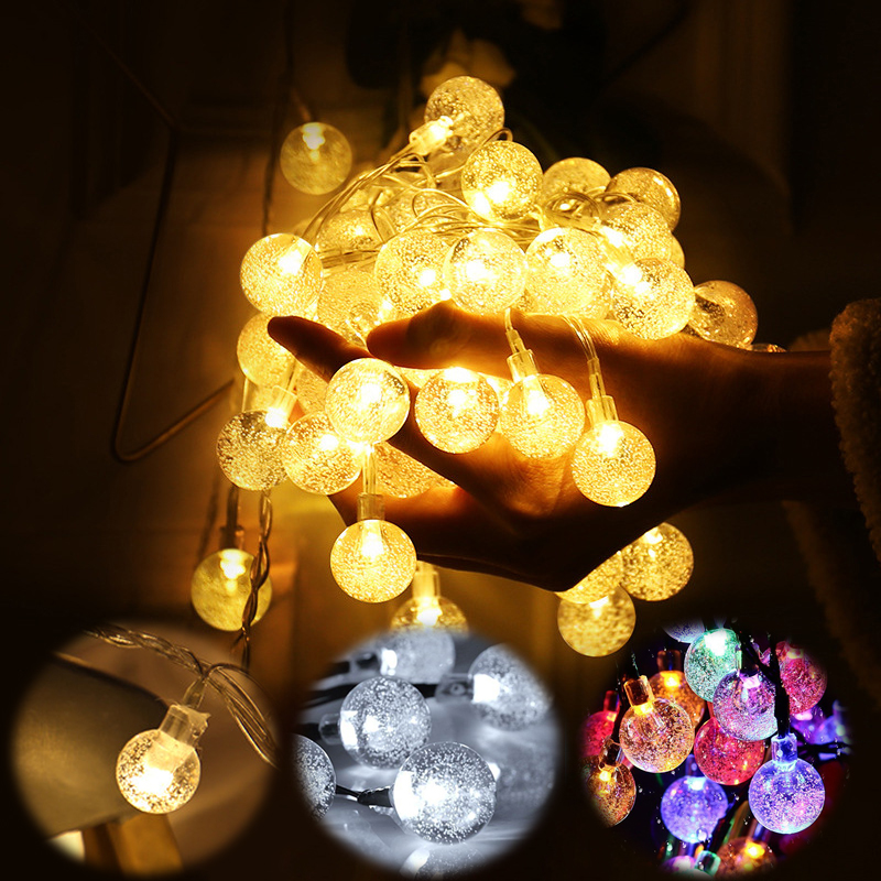 6M 10M Crystal Bubble Ball String Lights Garlands 220V&Battery Flash Fairy Lamp Outdoor for Christmas Holiday Home Decor in Holiday Lighting from Lights Lighting