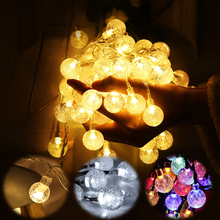 6M 10M Crystal Bubble Ball String Lights Garlands 220V&Battery Flash Fairy Lamp Outdoor for Christmas Holiday Home Decor