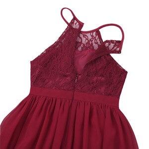 Image 5 - Tiaobug רקום פרח בנות שמלת הלטר שרוולים כלה חתונה לנשף מסיבת אירוע רשמי בגיל ההתבגרות רצפת אורך שמלה