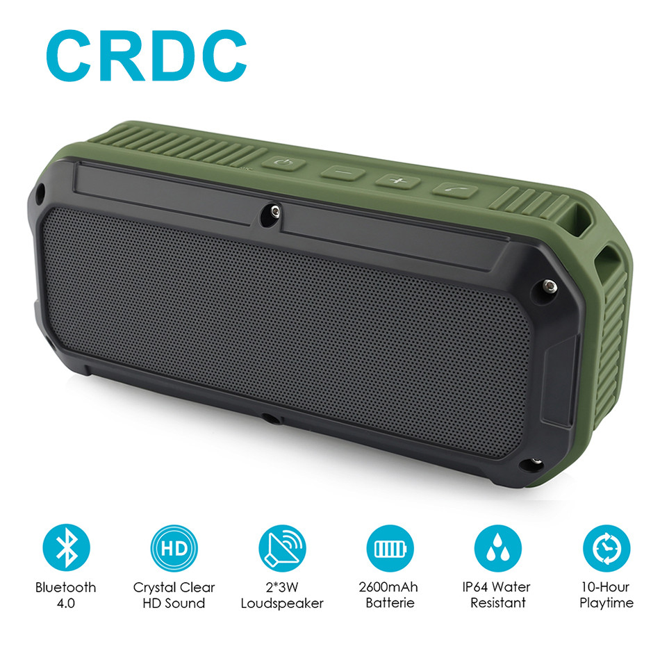 CRDC Bluetooth speaker 4.0 Portable Wireless Mini Sound Box Column Three Proofing Outdoor Design Bass Audio Player With Mic