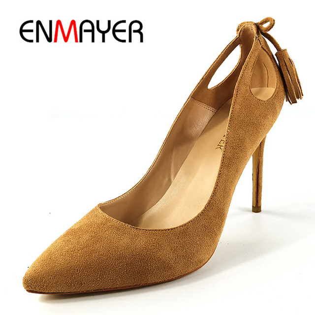 077be7db ENMAYER Fashion Women Pumps Brown High Heels Slip-on Office-Career Women  Shoes Elegant Pointed Toe Spring/Autumn Shoes Women