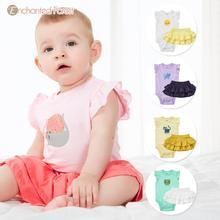 Baby Bodysuits Baby Short Sleeve Bodysuits Harness Summer Baby Cake Skirt Female Princess Half-length Skirt Two-piece Set