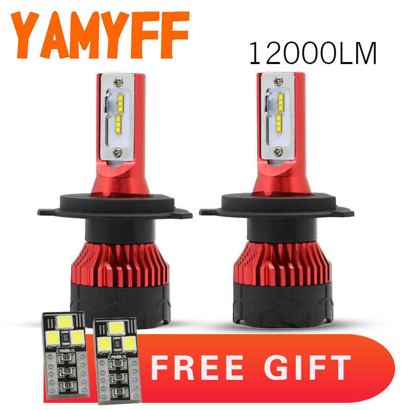 YAMYFF 2Pcs Car Headlight H7 LED H4 LED Bulb H1 H11 H3 HB3 9005 9006 H27 880 12000LM 6500K Fog Light 12V CSP Auto Headlamp Lamps
