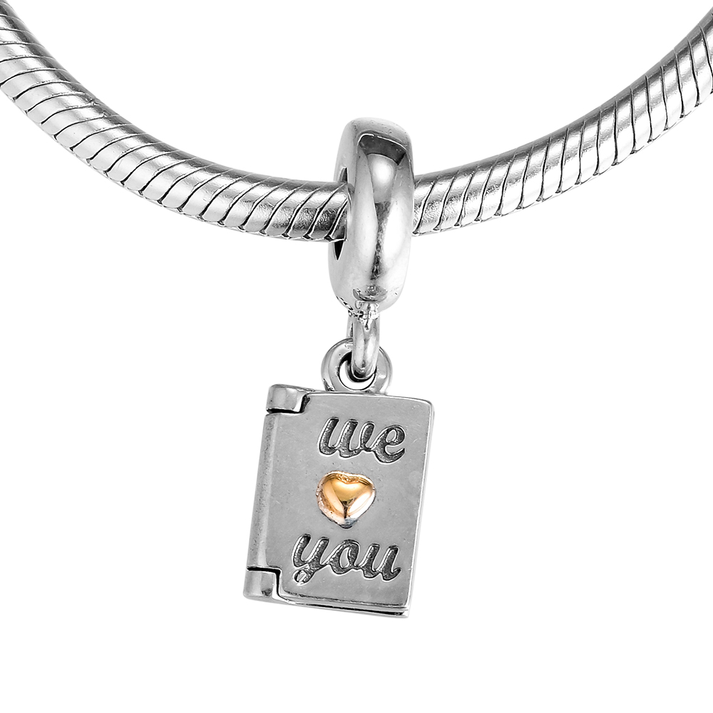 100% 925 Sterling Silver Mothers Day card Charm Fit for Bracelets Necklace Beads for Jewelry Making for Women pulseras mujer
