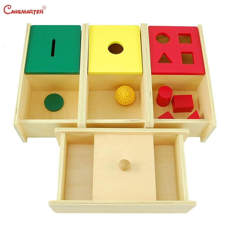 Montessori ensembles sensoriels boîte d'imbusoin avec couvercle à rabat jouets éducatifs géométrique tricoté balle enseignement jouets en bois jeux LT035-S3