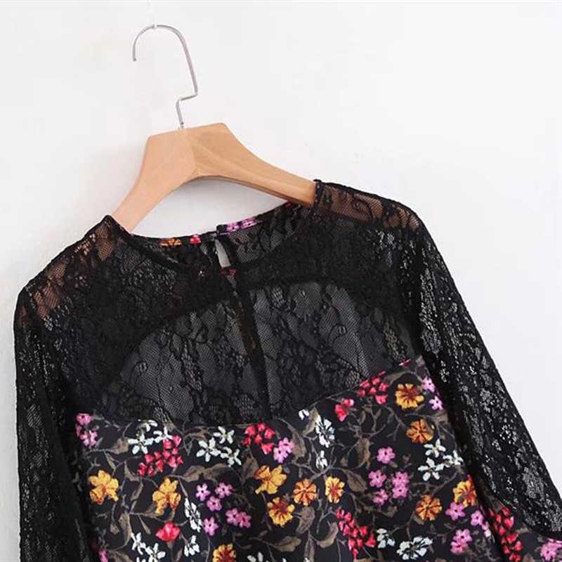 bc51d6d3554 ... Кружево цветочный лоскутное печати блузка рубашка Для женщин Осень  черный цветок крючком Sheer Sexy длинным рукавом ...