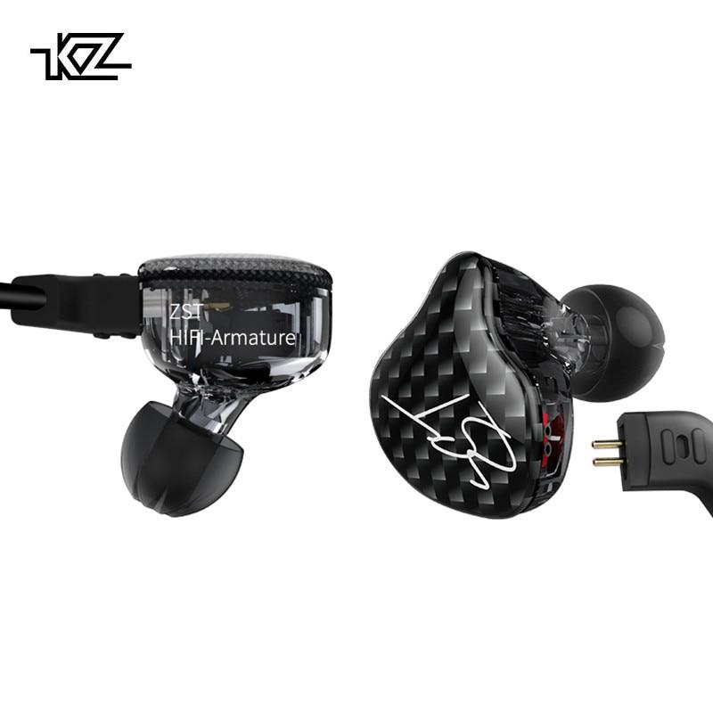 KZ ZST Dual Driver Auricolare Dinamica E Armature Cavo Staccabile di Bluetooth Monitor isolamento del Rumore HiFi Musica Auricolari Sportivi