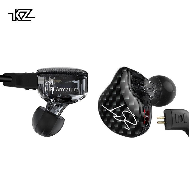 KZ ZST Double Écouteur Pilote Dynamique Et Armature Amovible Bluetooth Câble Moniteurs Isolation Du Bruit HiFi Musique Sport Écouteurs