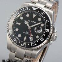 BLIGER 43mm Mostrador Preto Relógio Dos Homens Movimento Automático Vidro De Safira Cerâmica Bezel GMT Função Men Relógio de Pulso