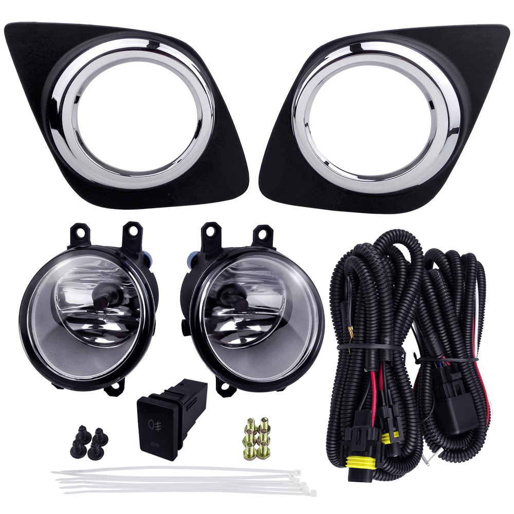 For TOYOTA RAV4 2009 4300K 12V 55W ABS Plastic Metal Fog Light Assembly Car Lights Halogen Lamp Accessories Plating
