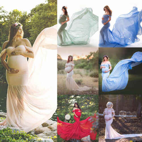 2019 Womens Maternity Photography Long Maxi Dress Off Shoulder Pregnant Photography Props Maxi Photo Shoot Gown Dress