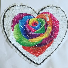 1Pcs New Rose Reversible Change color Sequins Sew On Patches for clothes DIY Patch Applique Bag Clothing Coat Jeans Craft