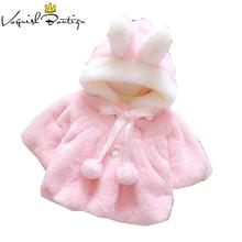 Baby Girls ubrania dla niemowląt Odzież wierzchnią zima dziecko ubrania Bebes Coral Velvet kaptur przewyższa cute noworodka ubrania królik ubrania dla niemowląt tanie tanio Odzież wierzchnia i Płaszcze Kurtki Regularne Pełne Hooded Bawełna Pasuje do rozmiaru Weź swój normalny rozmiar Moda