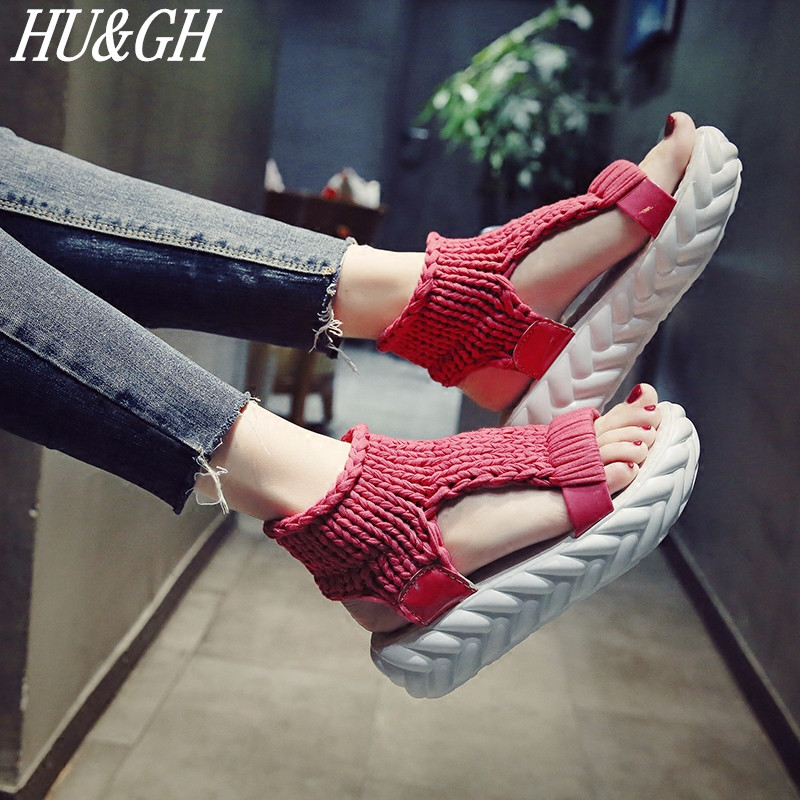 Wool Sandals Wedges-Shoes Open-Toed Comfortable Female Fashion Summer Women's Non-Slip