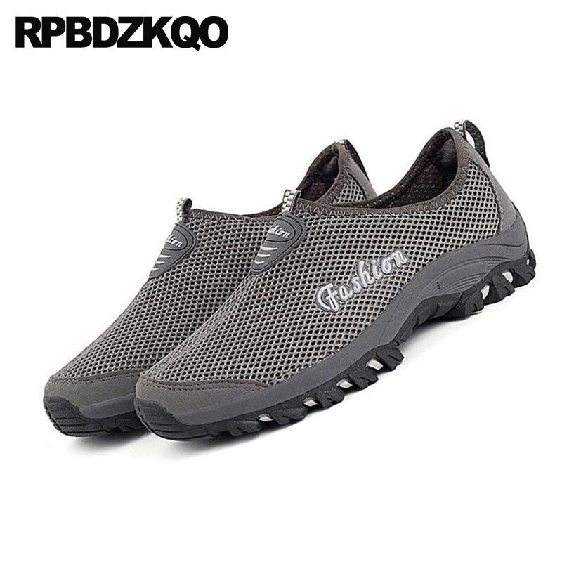 Designer On Malha Conforto Formadores Shoes Homens Sneakers Leve Respirável cinza De Azul 2018 Verão Masculina Moda Borracha Água Slip Casual tO6txq4