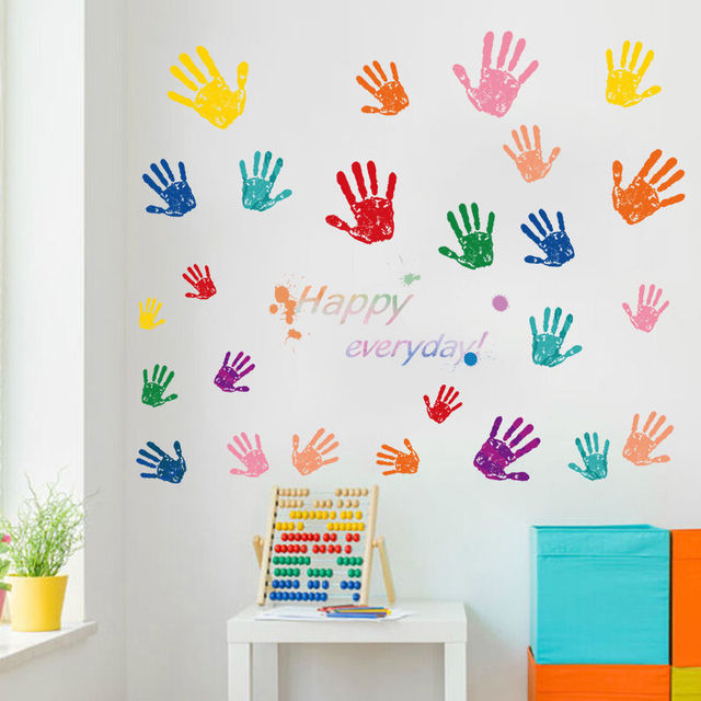 60x90cm Palm Wall Decals Multicoloured Kids Room Handprints Stickers Childrens Nursery House Decoration