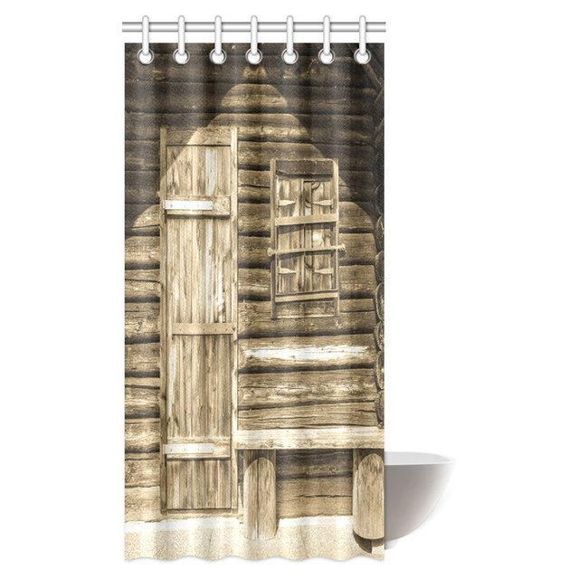 Aplysia Rustic Shower Curtain Old Wooden Barn Door Of Farmhouse Countryside Village Fabric Bathroom Decor Set With Hooks