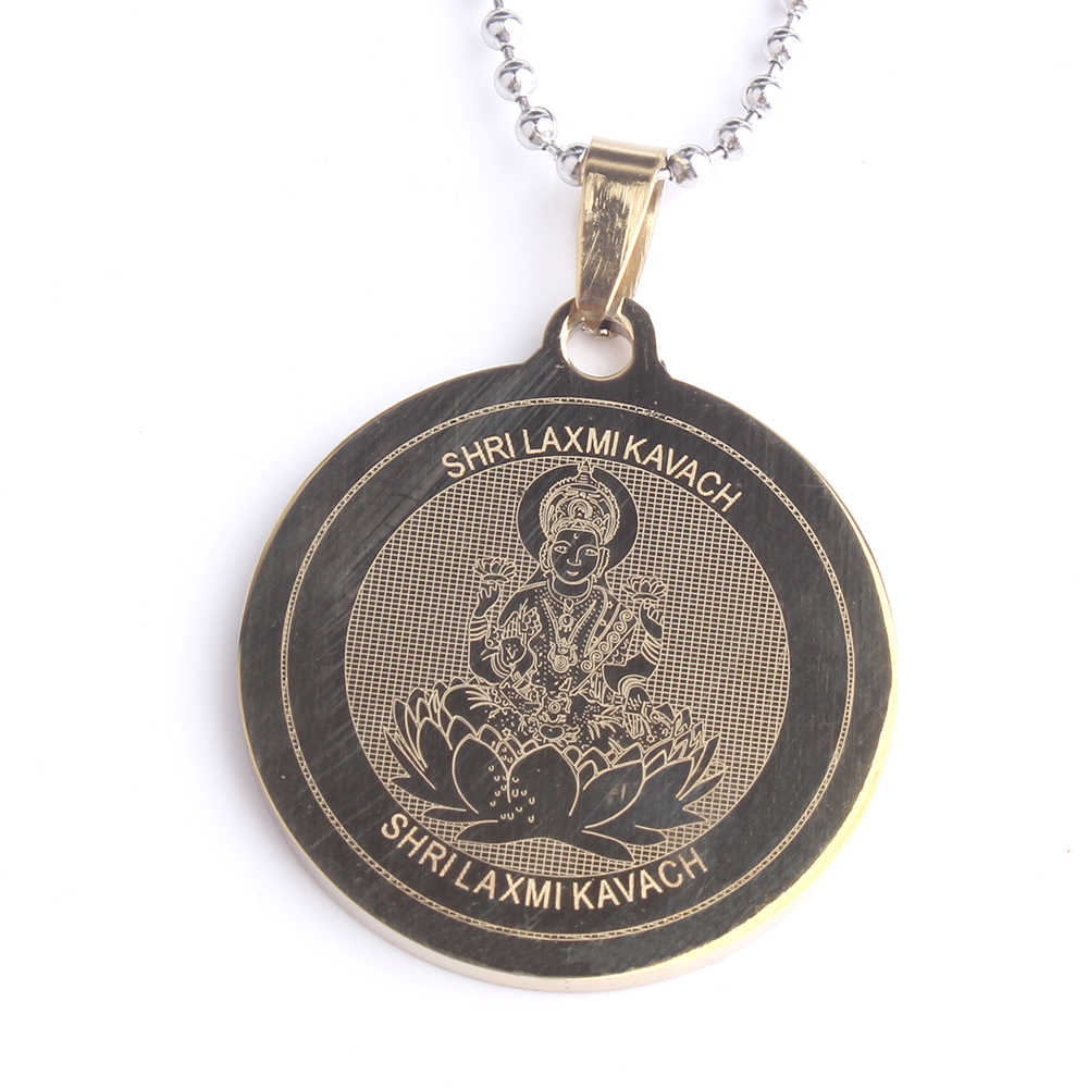 free shipping shri laxmi kavach Round tag pendant necklaces bead chain for men women 316L Stainless Steel  wholesale