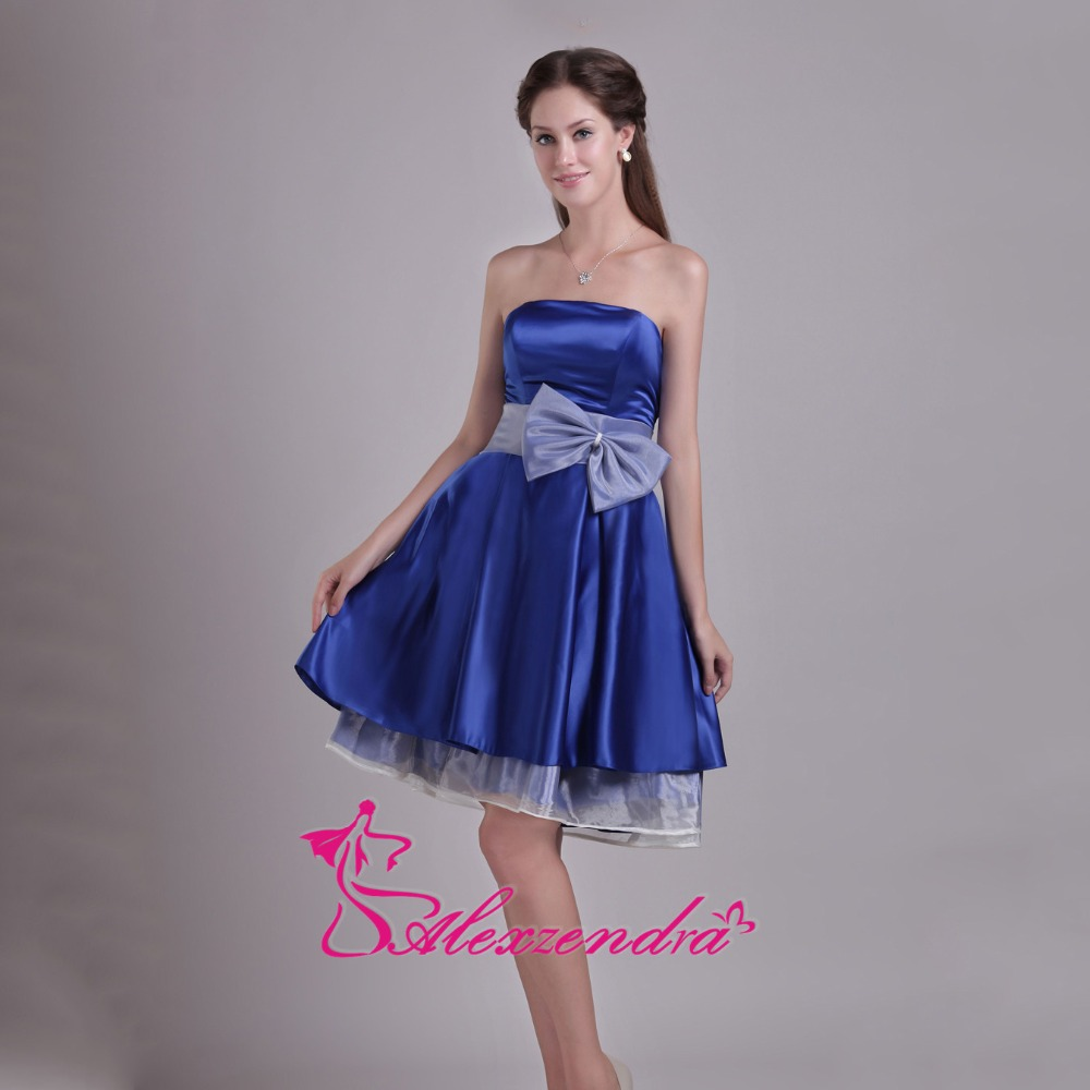Alexzendra Strapless Royal Blue Simple Mini A Line   Prom     Dresses   Simple Special Party Gowns