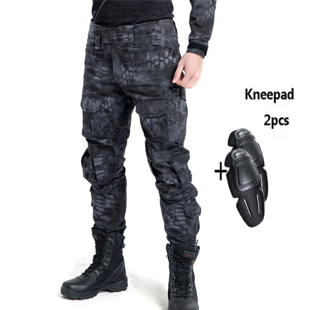 Tactical Pants Military Cargo Pants Men Knee Pad SWAT Army Airsoft Camouflage Clothes Hunter Field Combat Trouser Woodland swat military style cargo jeans men casual motorcycle denim biker jeans stretch multi pockets tactical combat army jean