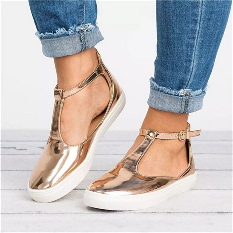 SHUJIN 2019 Summer Women Shoes Vintage Solid Loafers Shoes Round Toe Platform Flat Buckle Strap Casual Shoes Female Single Shoes