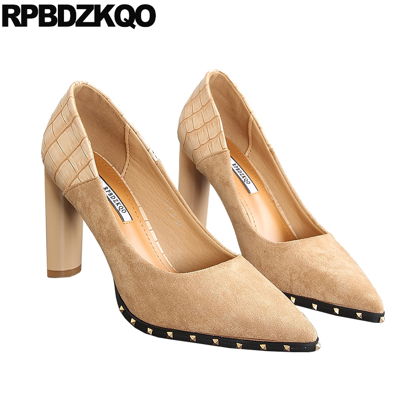 apricot 4 Negro Gamuza Dedo Tacón De Tamaño Oficina Coreano Bombas Sexy Negro Pie Cerrada Zapatos Nude 34 2018 Alto Del Remache Mujer Elegante BRd1qR