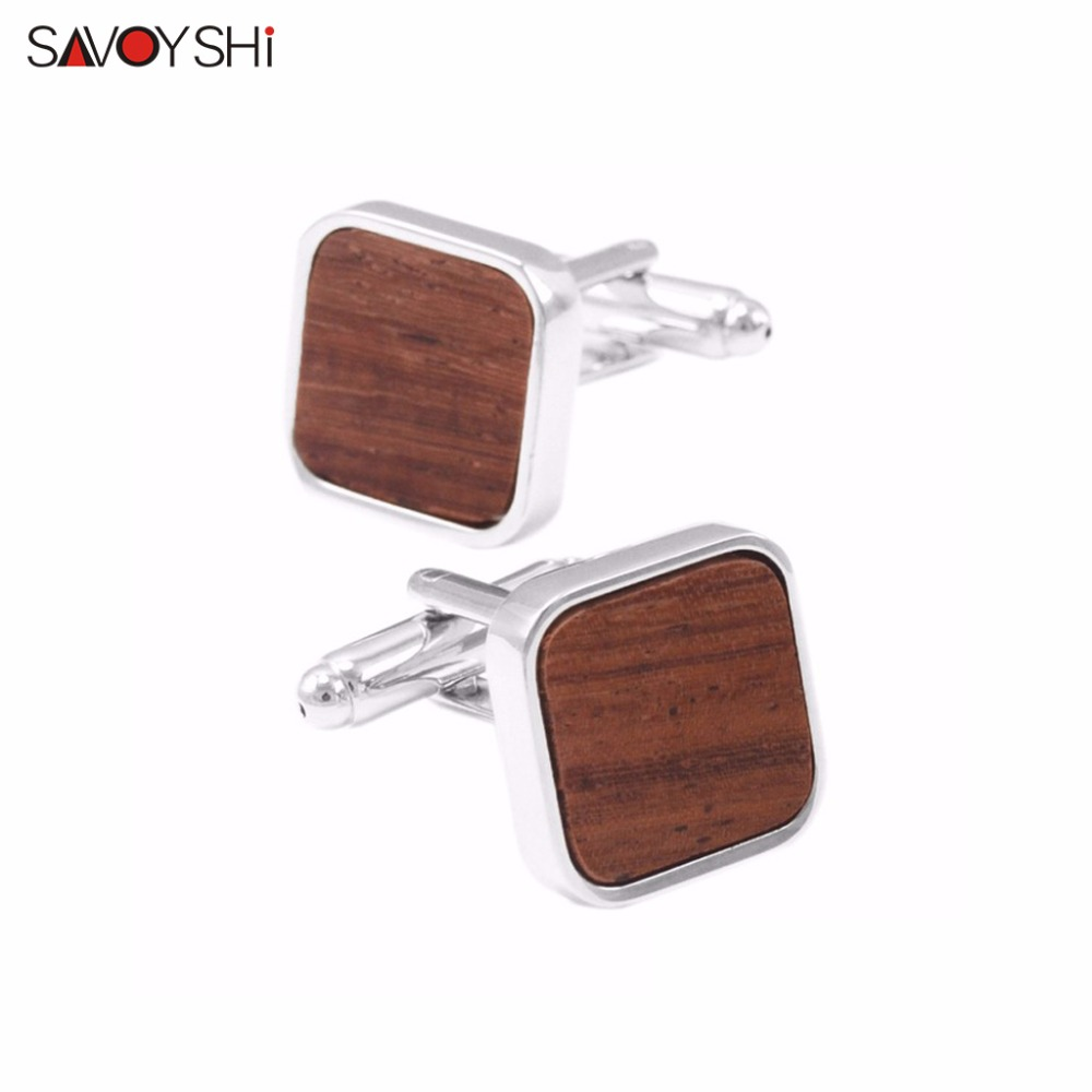 SAVOYSHI Brand Jewelry Low-key Luxury Wooden Cufflinks High Quality - Fashion Jewelry