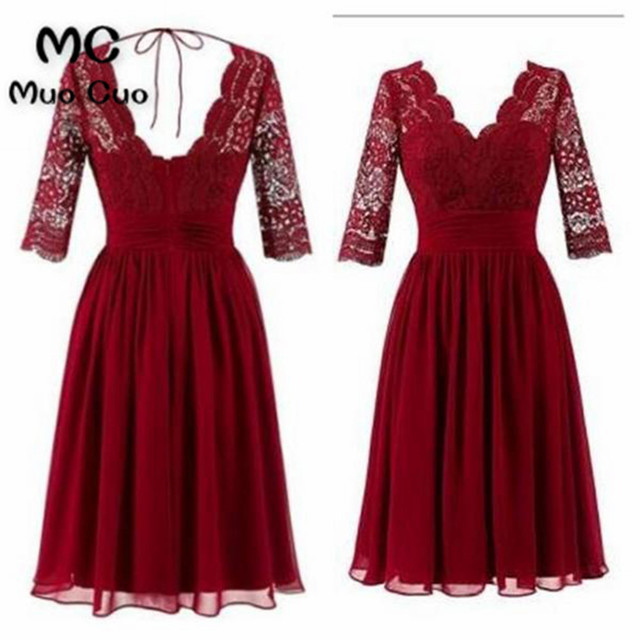 d018620531 Real 2018 Burgundy Homecoming dress with 3 4 Sleeves Double V-Neck Lace  Cocktail party dress short homecoming dress