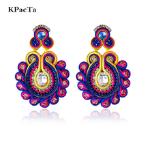 KPacTa New Soutache Handmade Fashion Earring Ethnic Jewelry Women Clothing Accessories Crystal Decoration Drop Oorbellen