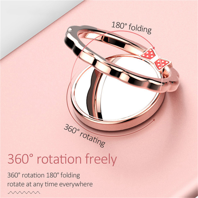Mirror 360 Ring Magnet Holder Bracket Finger Grip Phone Desktop Stand  Built-in Iron Sheet For Xaiomi Redmi IPhone 7 6 Plus