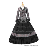 Civil War Victorian Tartan Ball Gown Dress Prom With Gentle Collar And Cute Bowknot Decorated Cater To Magnificent Lady