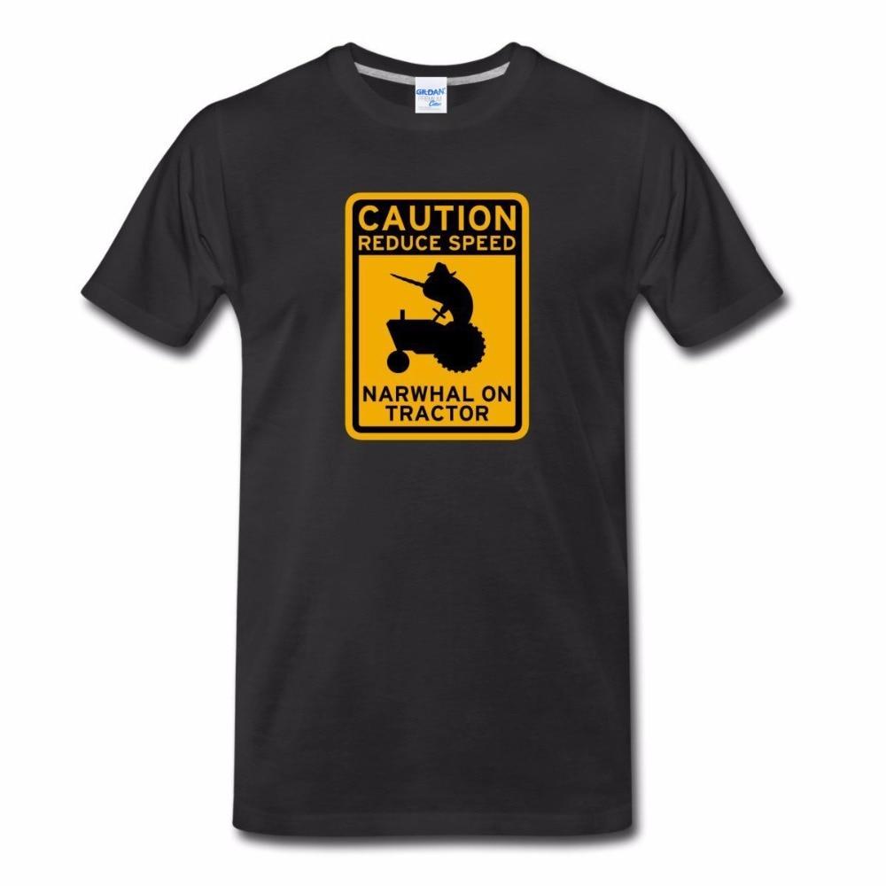Men 2018 100% Cotton Summer Summer Short Sleeves Cotton T Shirt Narwhal Tractor MenS T Shirts Casual Tee Shirt